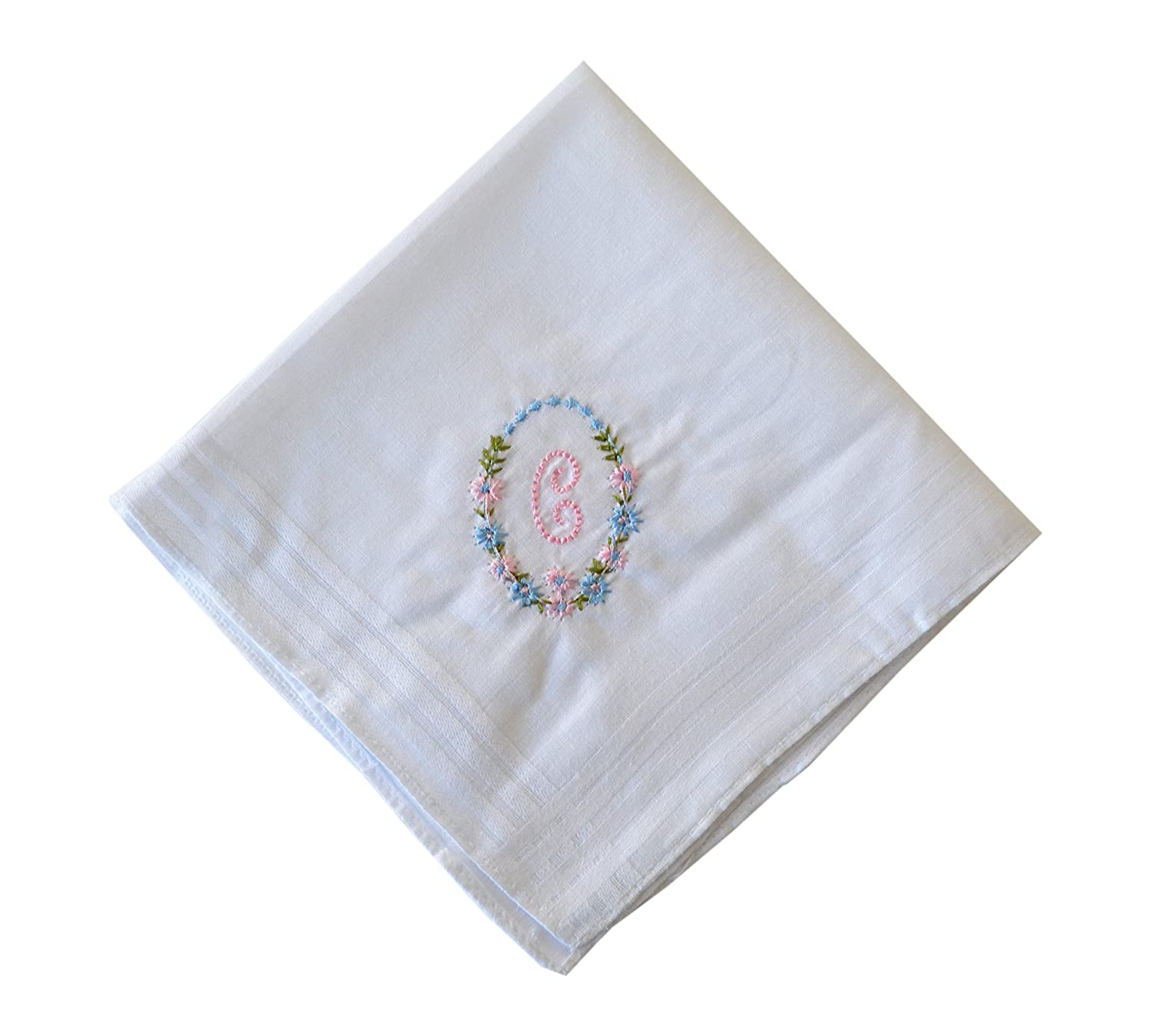 13 Pack Bakers Dozen Womens/Ladies White Handkerchiefs With Initial Embroidery, 100% Cotton, Various Letters Letter A