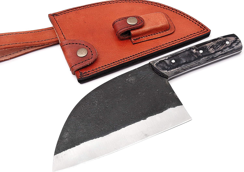 Handmade Knife - Full Tang High Carbon Steel - Chef Knife, Kitchen Knife, Meat Slicer & Butcher Knife - Chefs Knife, Cleaver Knife & Serbian Chefs Knife with Pakka Wood Handle & Leather Knife Sheath