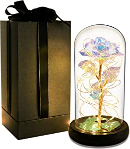 Gift for Mom Galaxy Rose Colorful Rose Flower in Glass Dome Led Light String on 24K Gold Foil Rainbow Rose Gifts for Women Birthday Christmas Mother's Day Valentine's Day Anniversary