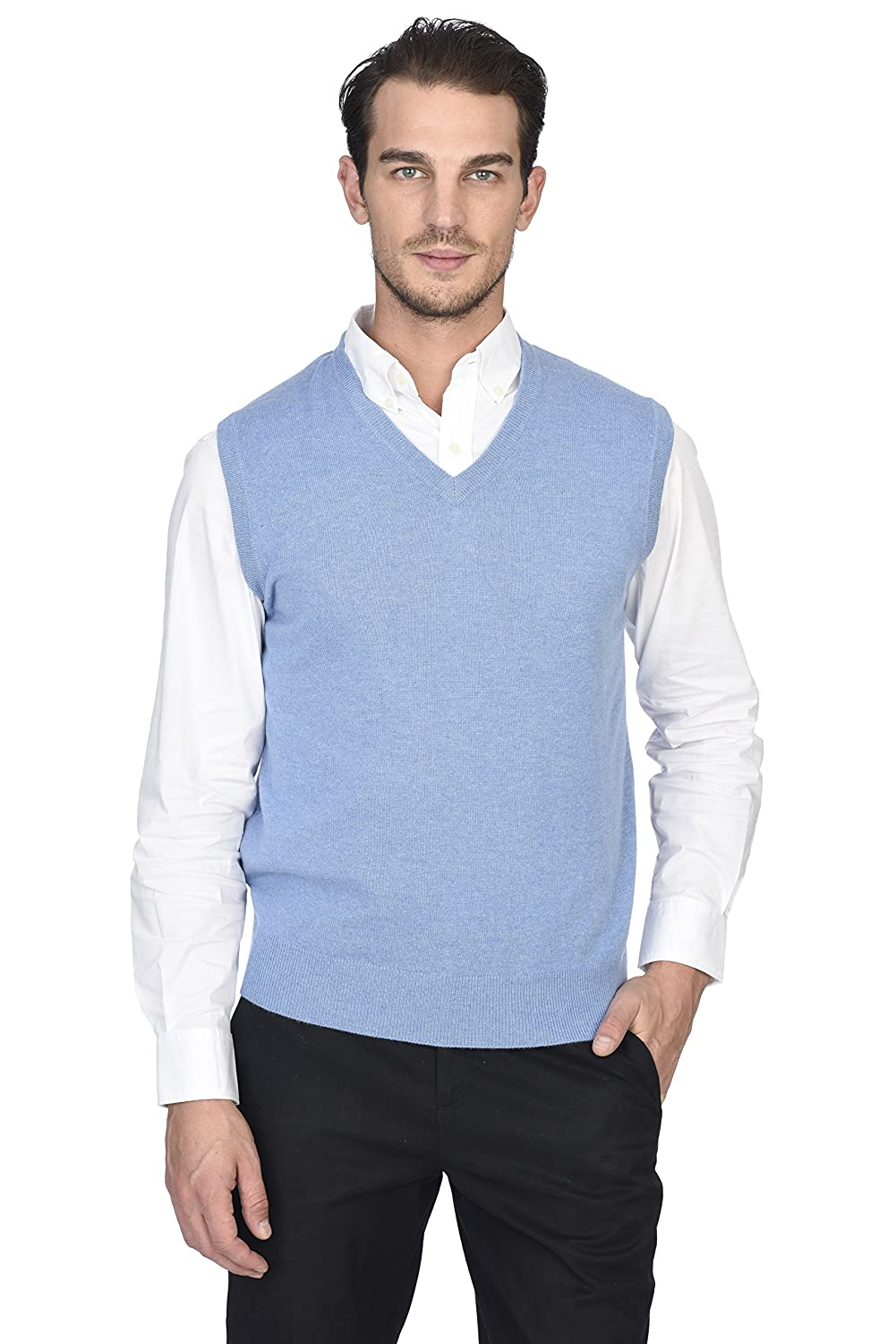 State Cashmere Men's 100% Pure Cashmere Regular Fit Pullover Casual Sweater Vest ST3617
