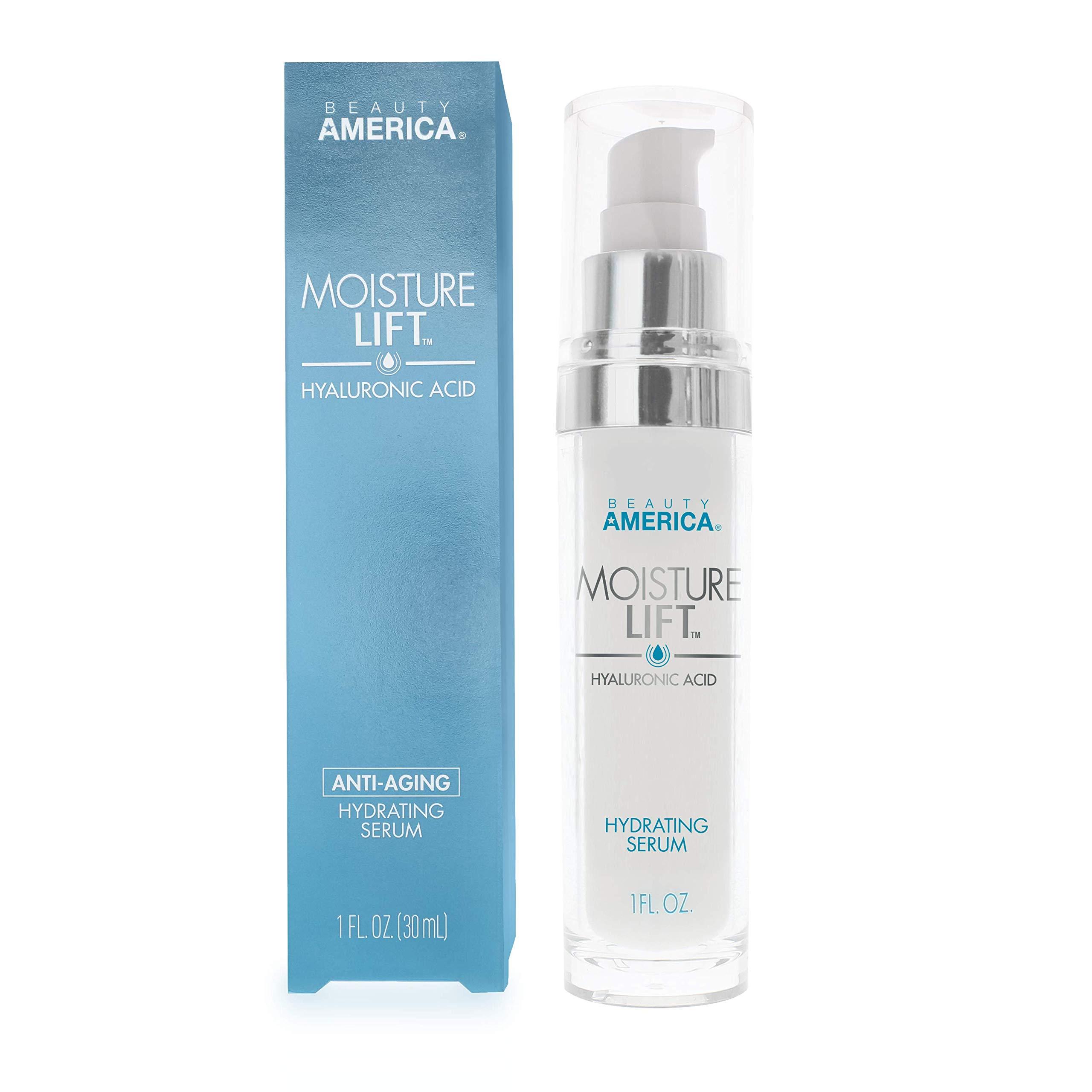 Beauty America Moisture Lift, Anti-Aging, Hyaluronic Acid, Hydrating Serum, 1 Fl Oz by Beauty America