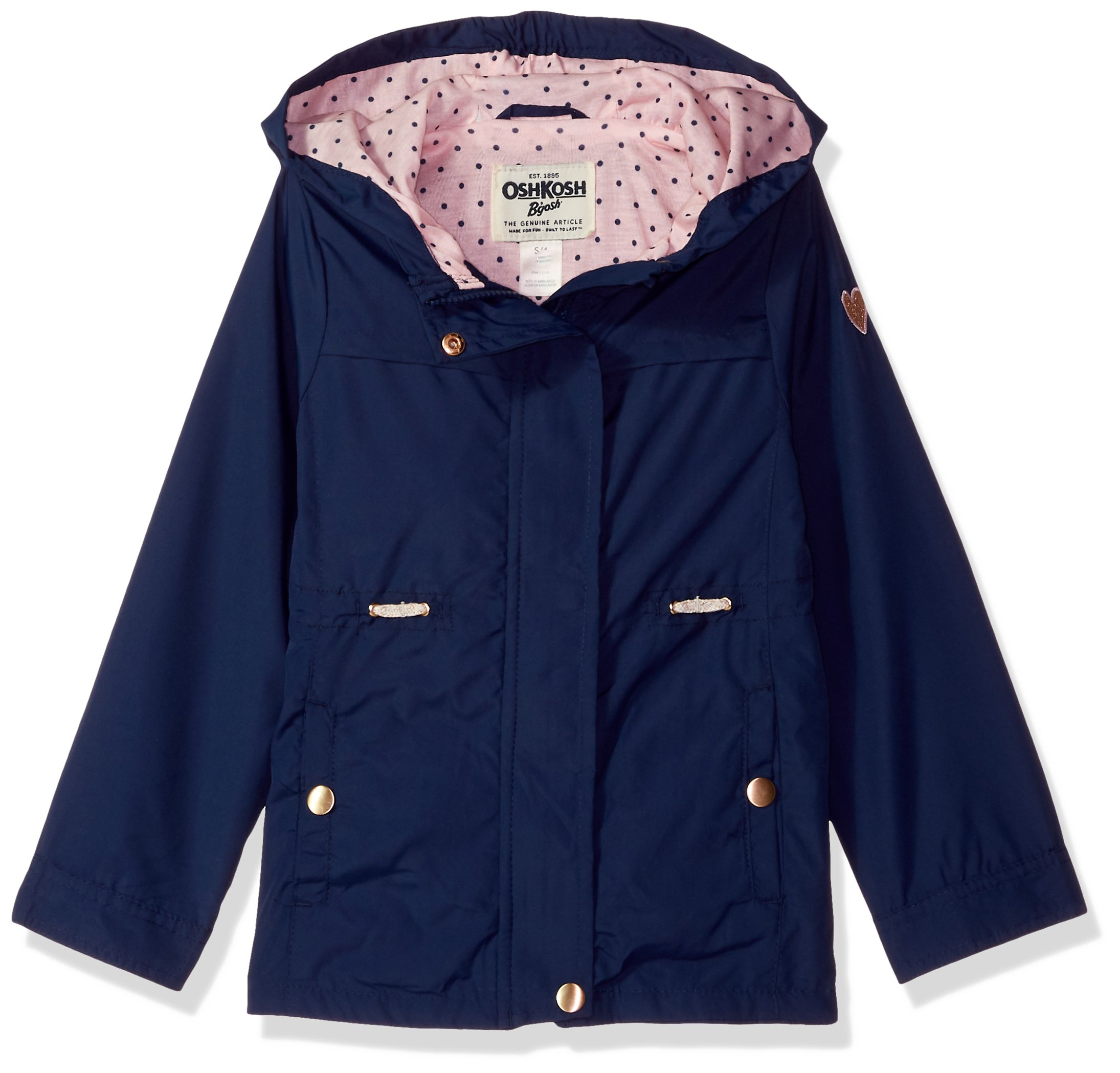 Osh Kosh Girls' Little Lightweight Anorak Jacket, Indigo Blue, 5/6