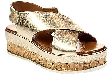 Inuovo 8837 - Damen Schuhe Sandaletten Plateau-Sandalen - Gold, Größe 37 EU 6fd2f5082c