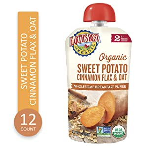 Earth's Best Organic Stage 2 Baby Food, Sweet Potato Cinnamon Breakfast, 4 oz. Pouch (Pack of 12)
