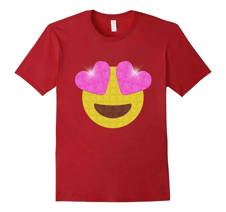Emoji Party Shirt - Sparkling Heart Eyes Emoji Glitter Shirt-Vaci