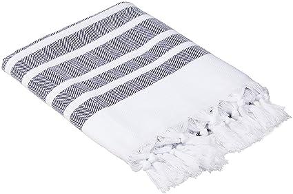 Cacala turco hammam toallas, algodón, azul marino, 37 x 70-Inch
