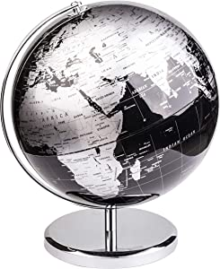 Exerz Metallic World Globe (Dia 10-Inch / 25 cm) Black – Educational/Geographic/Modern Desktop Decoration - Stainless Steel Arc and Base/Earth World - Metallic Black - for School, Home, and Office