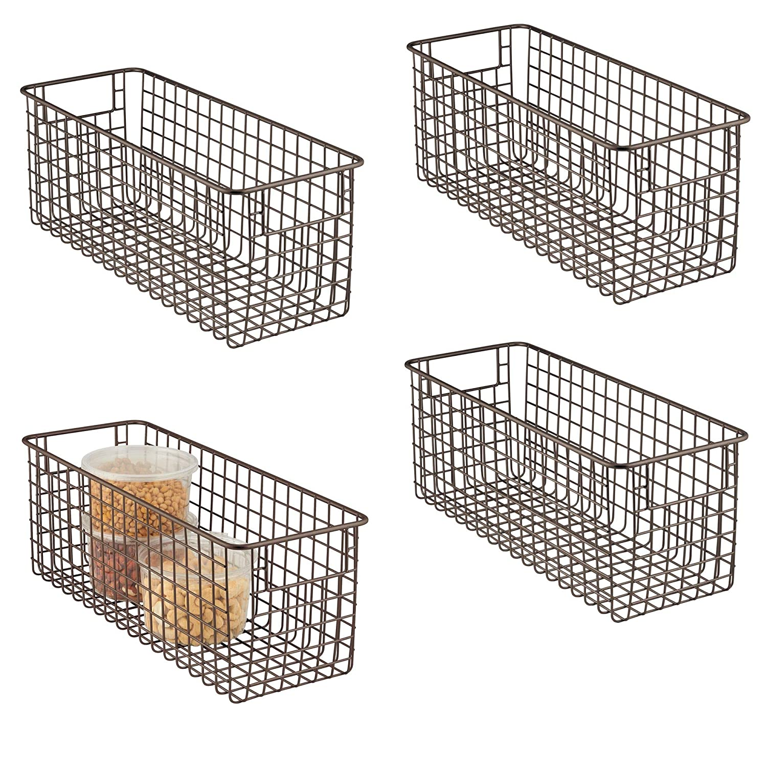 "mDesign Farmhouse Decor Metal Wire Food Storage Organizer Bin Basket Handles Kitchen Cabinets, Pantry, Bathroom, Laundry Room, Closets, Garage - 16"" x 6"" x 6"" - 4 Pack - Bronze"