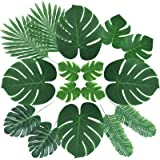 ElaDeco 66 Pcs Artificial Palm Leaves Tropical Faux Leaves with Stems for Jungle Party Safari Decorations Supplies Hawaiian L