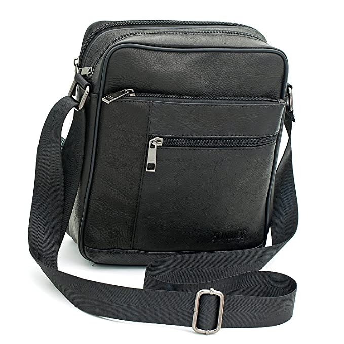05024c732f9 Small Genuine Leather Cross Body Messenger Bags Satchel Shoulder Bag for Men  Black