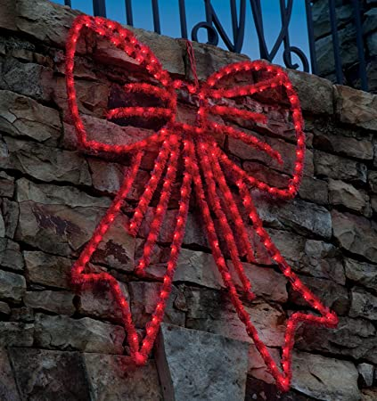 bethlehem lighting 36 lighted red wire frame bow silhouette hanging christmas decoration - Wire Frame Outdoor Christmas Decorations