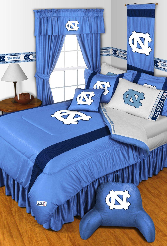 North Carolina Tar Heels NCAA 8 Pc FULL Size Comforter Set and One Matching Window Valance/Drape Set (Comforter, 1 Flat Sheet, 1 Fitted Sheet, 2 Pillow Cases, 2 Shams, 1 Bedskirt, 1 Matching Window Valance/Drape Set) SAVE BIG ON BUNDLING!