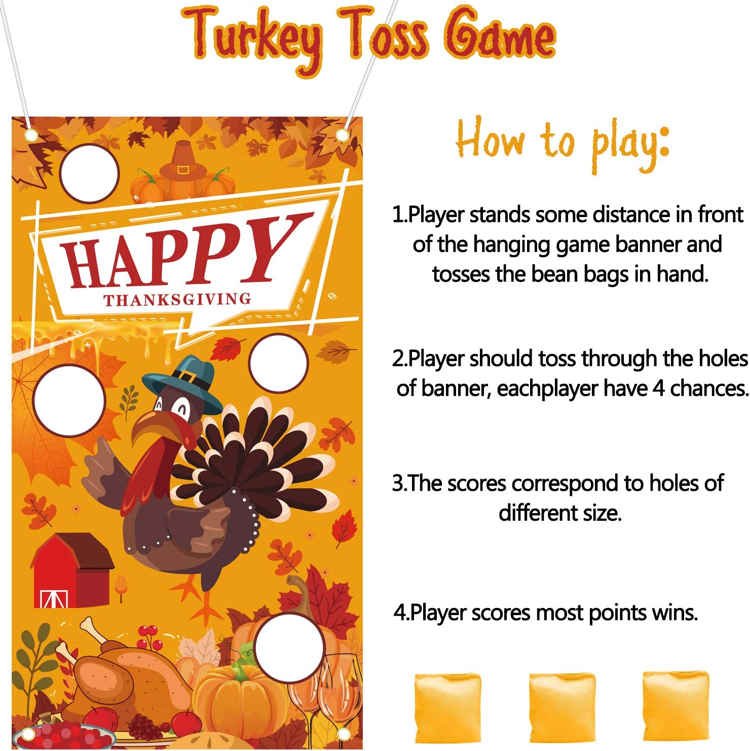 Thanksgiving Bean Bag Toss Games for Kids Family Adults Thanksgiving Games Turkey Hanging Toss Game Banner Decorations Fall Thanksgiving Party Supplies Activities