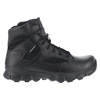 Reebok Mens Black Leather Nylon 6in Tactical Boots Dauntless Soft Toe 8 M | Motorcycle & Combat