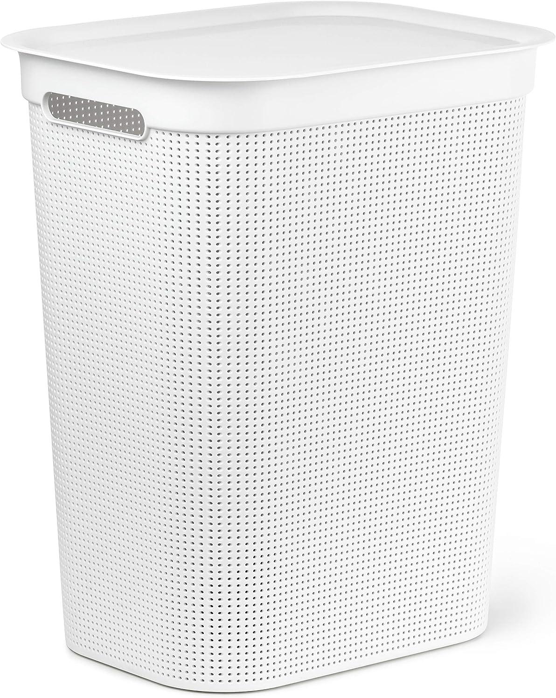 43 x 34 x 53 cm PP Rotho Brisen W/äschesammler mit Deckel 50 l 50 Liter Beige Kunststoff
