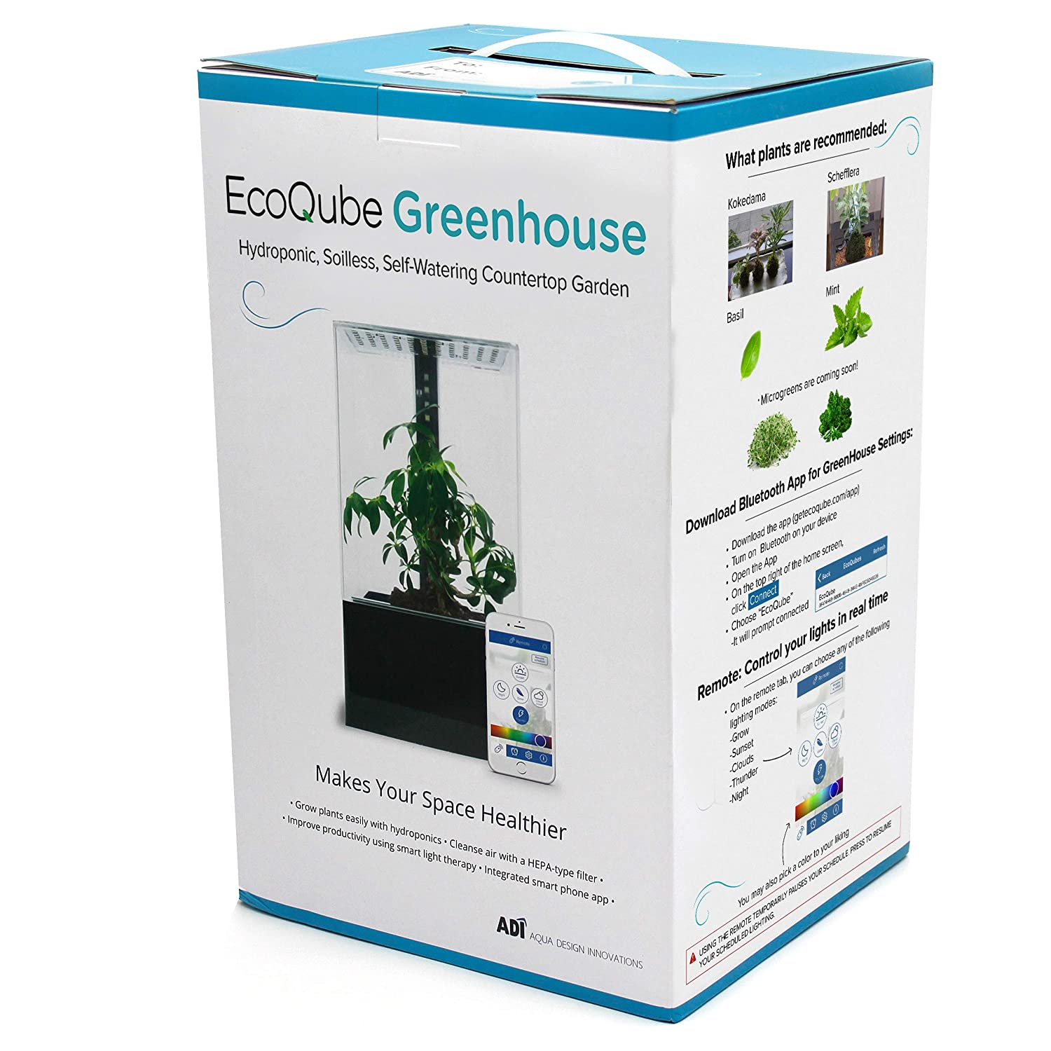 EcoQube Greenhouse - Self-Watering Hydroponic Garden Desktop Decor with Smart LED Grow Lights