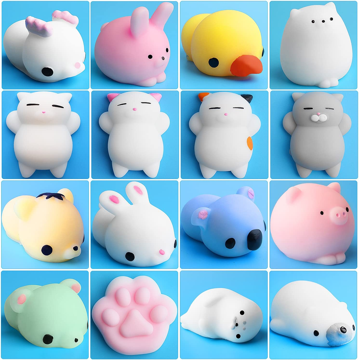 Outee Mochi Squishys Toys, 16 Pcs Mini Squishys Animals Toys Mochi Cat Squishys Stress Relief Mochi Animal with Felt Bag