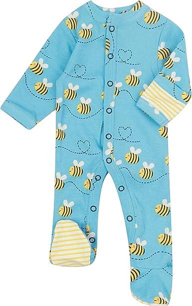 Piccalilly Pijama de bebé con pies, algodón orgánico sin químicos, diseño de abeja unisex para bebé o niña