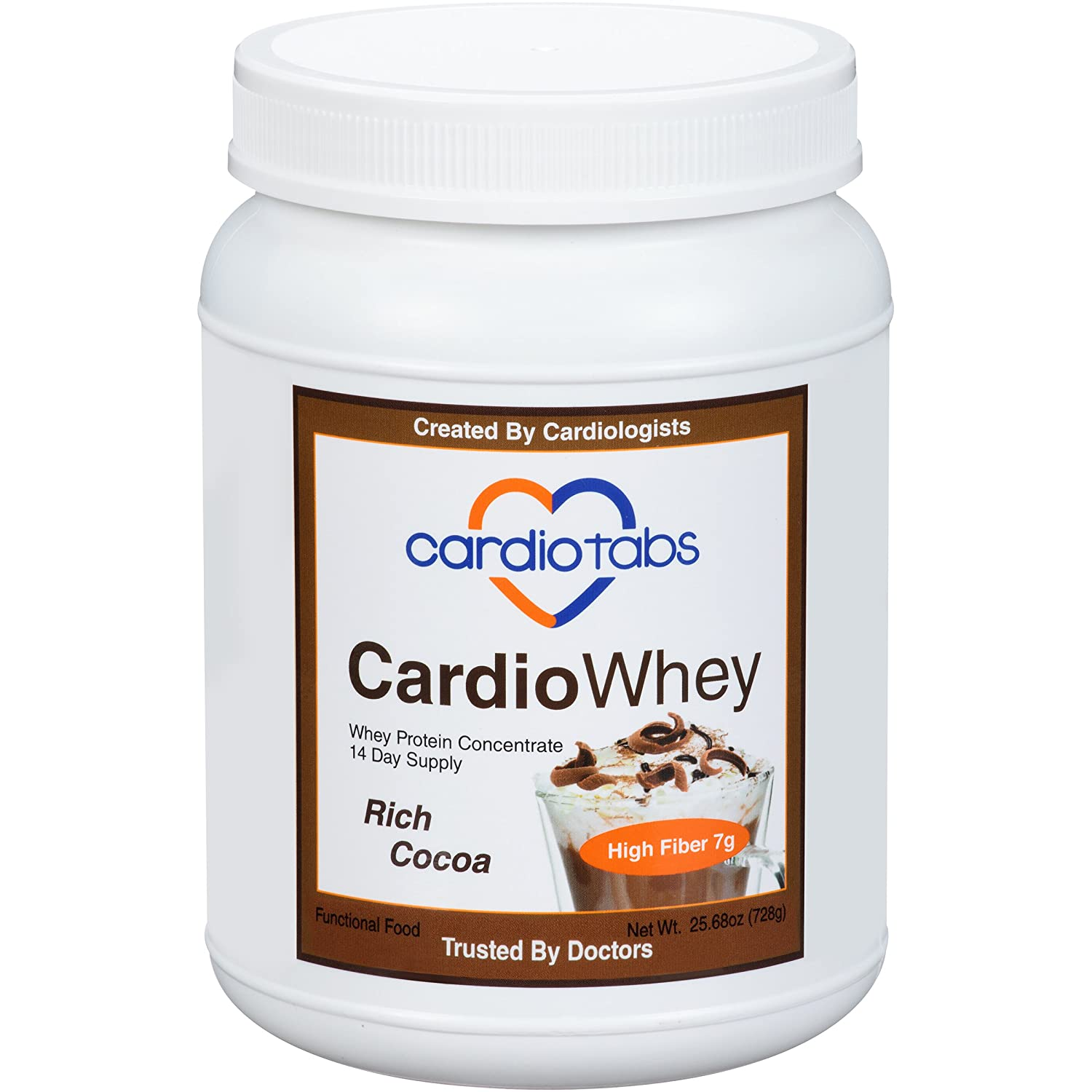 CardioWhey Rich Cocoa, Concentrate, 21 Grams of Protein and 7 Grams of Fiber per Serving