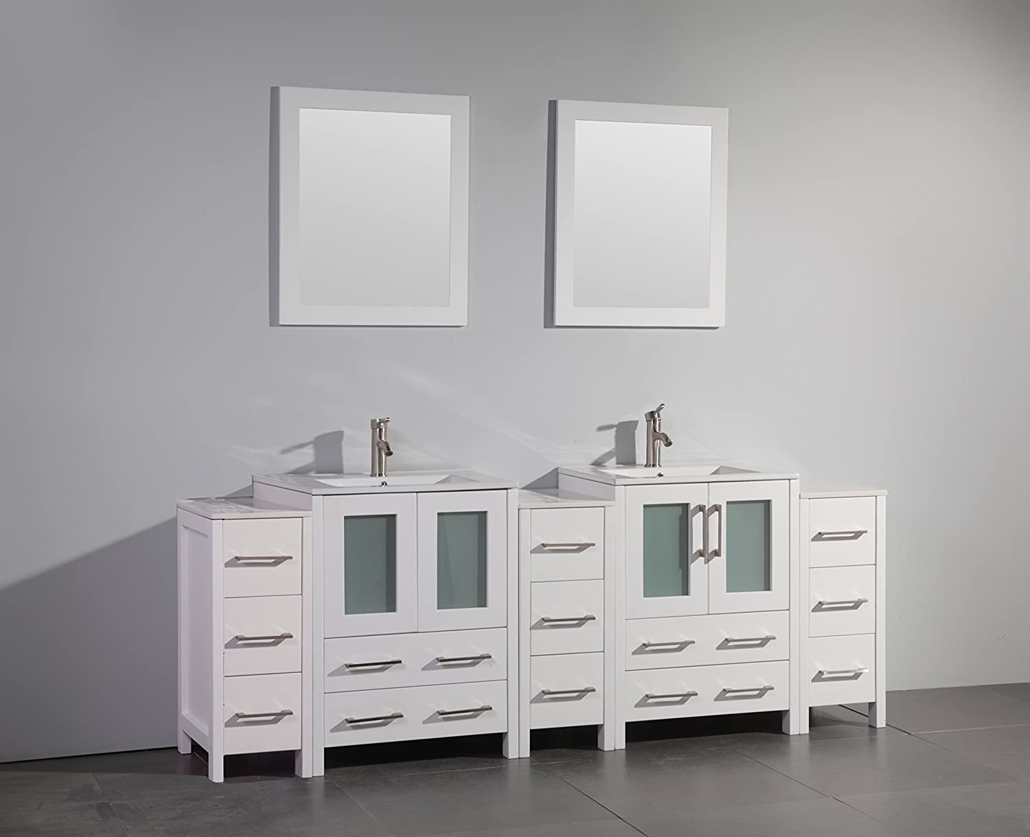 Vanity Art 24 Inch Single Sink Bathroom Vanity Set With Ceramic Top With  Free Mirror VA3024 E     Amazon.com