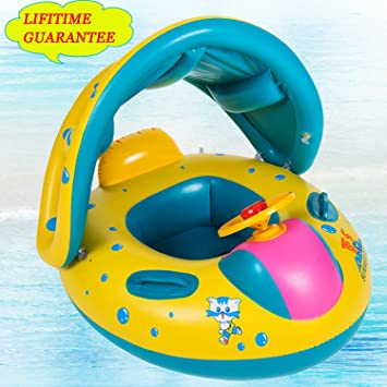 Baby Pool Float with Sun Canopy ShadeInflatable Baby Swimming Floats Boat for the Baby & Amazon.com: Baby Pool Float with Sun Canopy ShadeInflatable Baby ...
