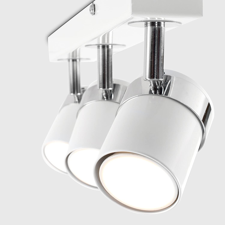 with 3 x 5W Warm White GU10 LED Bulbs Modern 3 Way Gloss Black and Polished Chrome Straight Bar Ceiling Spotlight