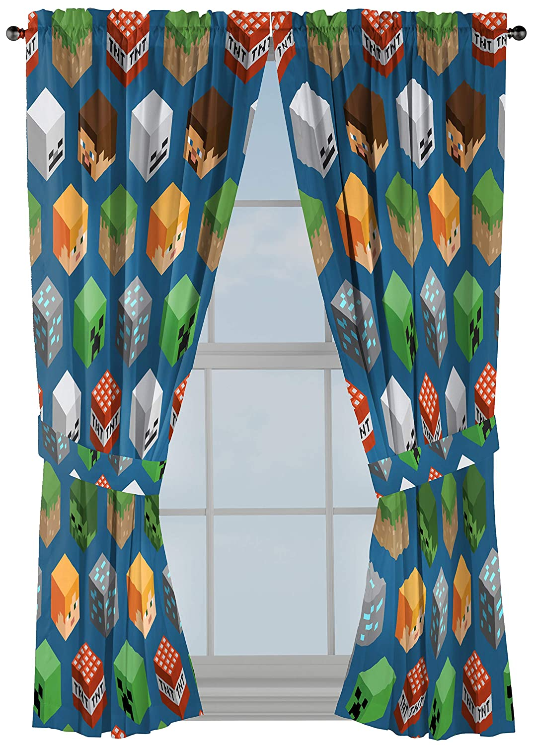 """Minecraft Isometric Blue 63"""" Inch Drapes 4 Piece Set - Beautiful Room Décor & Easy Set Up, Bedding Features Creeper - Window Curtains Include 2 Panels & 2 Tiebacks (Official Minecraft Product)"""