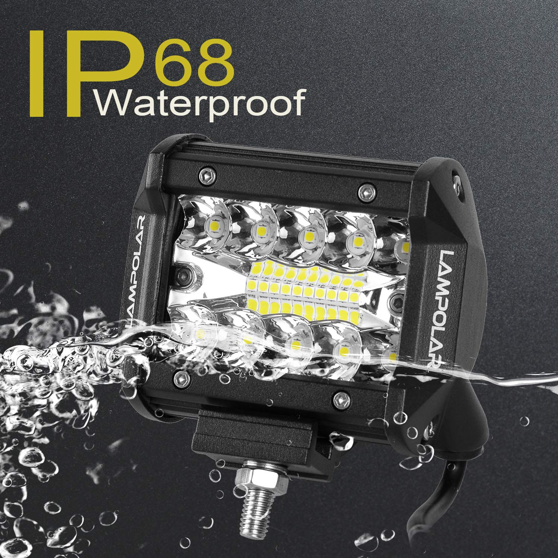 1 Year Warranty . Lampolar Led Light Bar 2PCS 60W 4 Spot Flood Combo Driving Fog Light Off Road Lights Boat Lights Driving Lights Led Work Light SUV Jeep Lamp