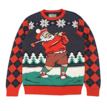 ae4ecdfee88 Ugly Christmas Sweater Plus Size Women s Golfing Santa Sweatshirt-Small  Twilight