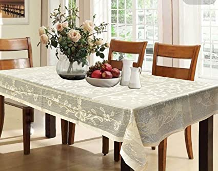 Kuber Industries Cotton 6 Seater Dining Table Cover - Cream