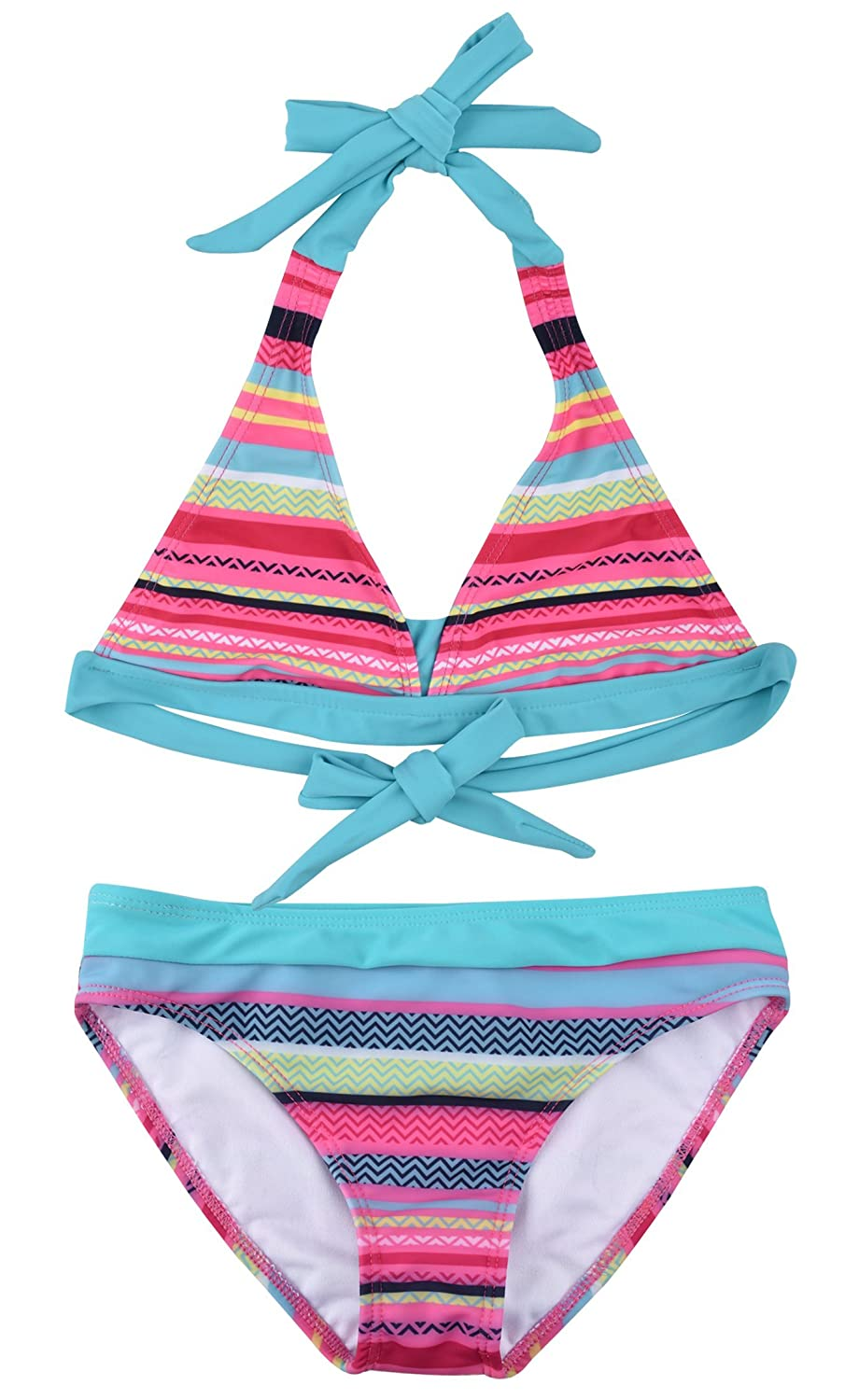 ZOEREA Little Girls Bikinis Two Piece Sets Tankini Swimwear Swimsuit Stripe YS2388