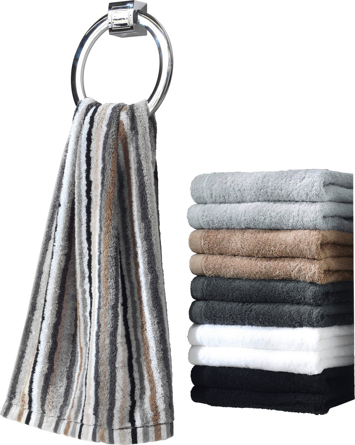 Cawö Life Style Striped Hand Towel Gästetuch 30x50 cm multicolor dunkel