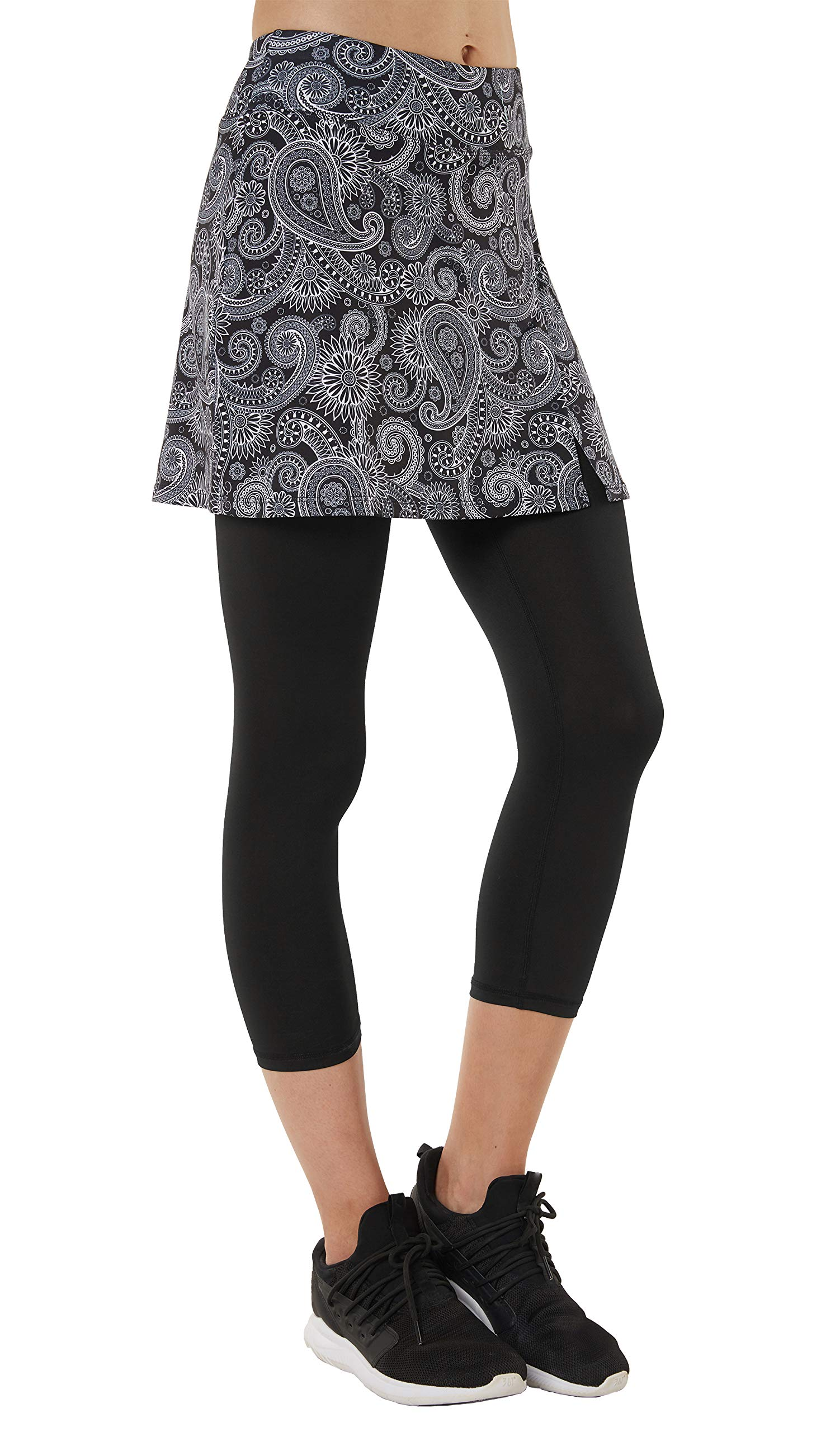 slimour Women Capri Leggings with Skirt Attached Capri Pants Skirted Leggings Workout Paisley XS by slimour