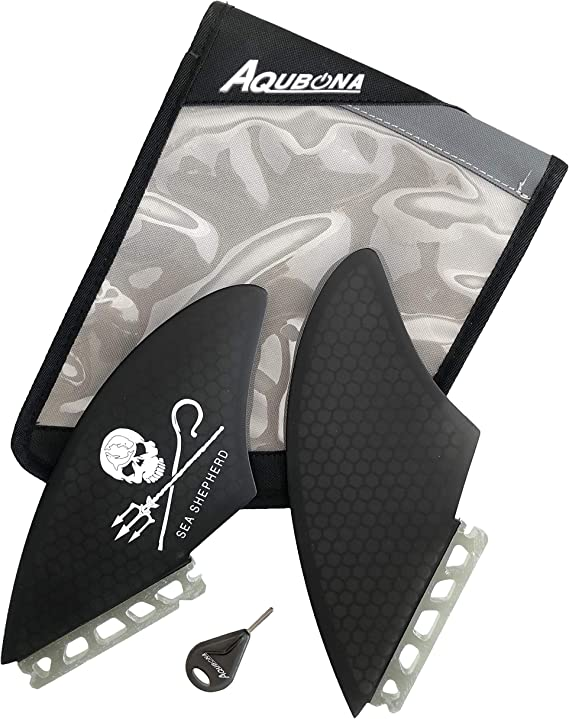 AQUBONA FCS or Futures Fiberglass Kite//KEEL//Fins for Surfing with Fin Bag and Fin Key