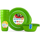 Preserve Everyday Tableware Set: Four Plates, Four Bowls and Four Cups, Apple Green