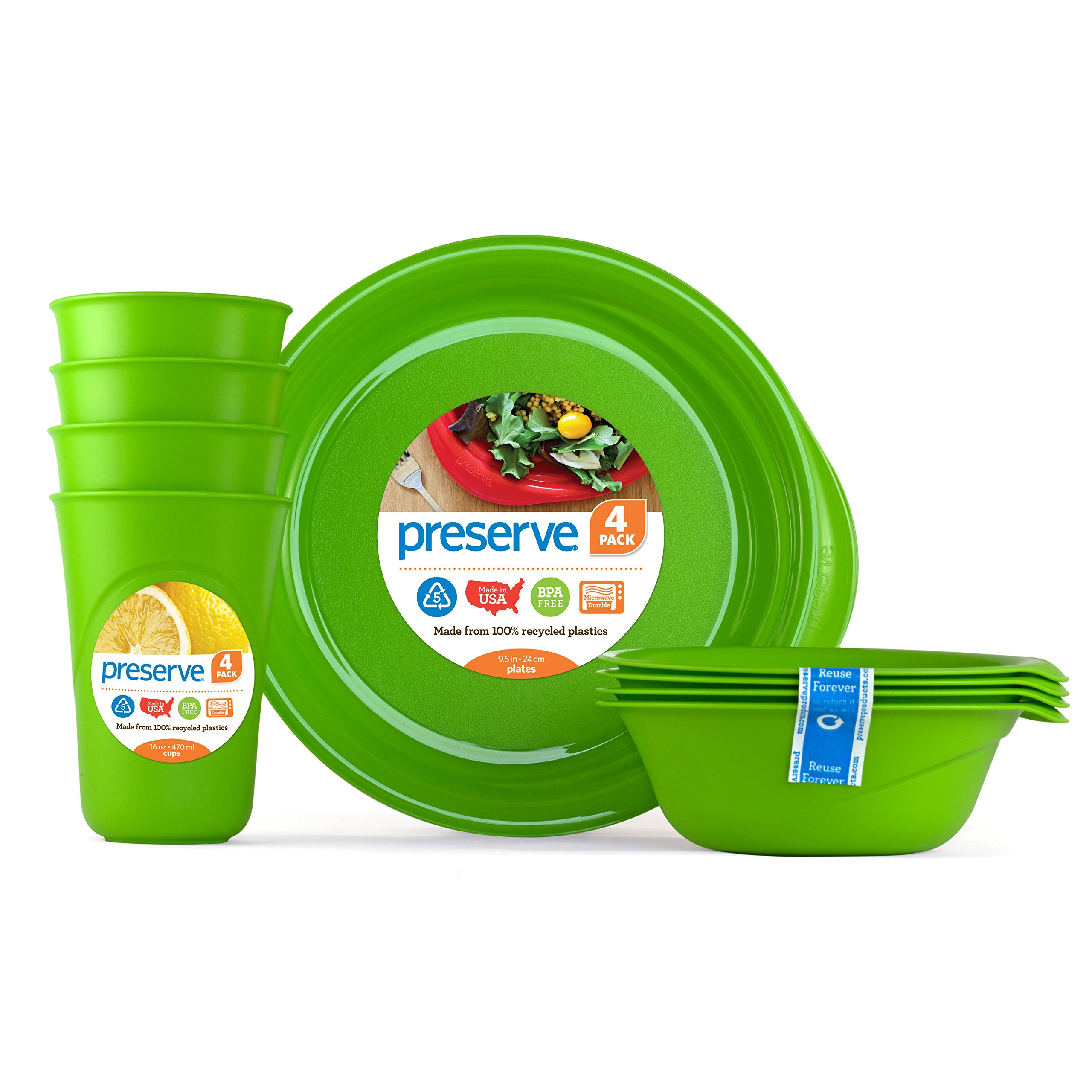 Preserve Everyday Tableware Set: Four Plates, Four Bowls and Four Cups, Apple Green by Preserve