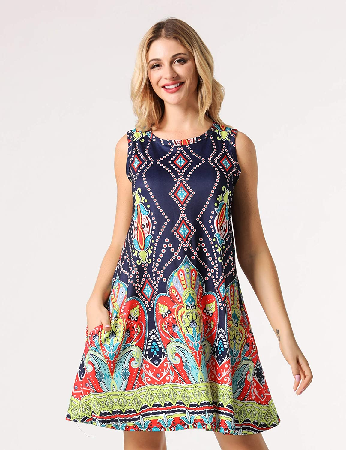 HIMNO Womens Bohemian Dresses Summer Damask Tunic Top Casual Floral Print Midi Dress with Pocket
