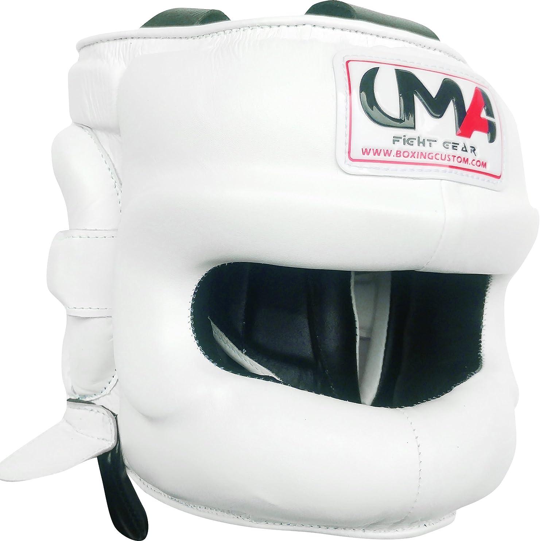 ボクシングヘッドギア – UMA r-81 – Facesaver – ボクシングMMA – Sparring保護ヘルメットRealレザー – ユニバーサルMartial Arts ホワイト Large
