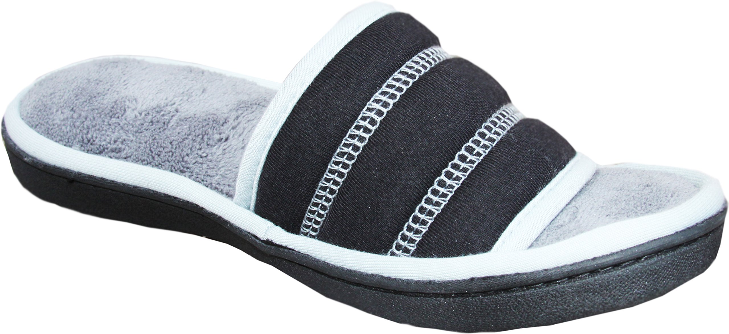 ISOTONER Women's Microterry Jersey Selena Slide Slipper (8.5-9.0, Black)