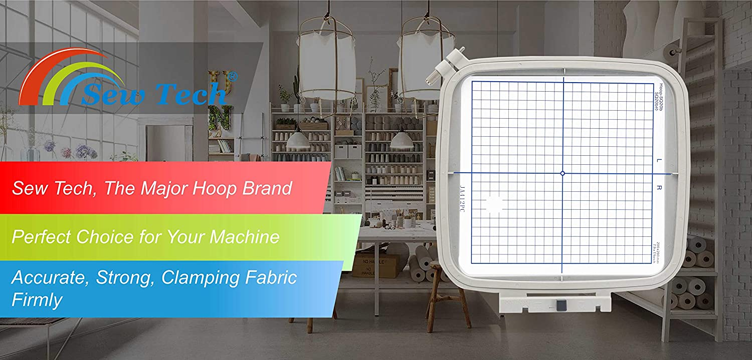 Sew Tech SQ20B Embroidery Hoop for Janome MC 500E 400E 550E Memory Craft Elna Expressive 830 830L etc Rectangle Small Sewing and Embroidery Machine Hoops