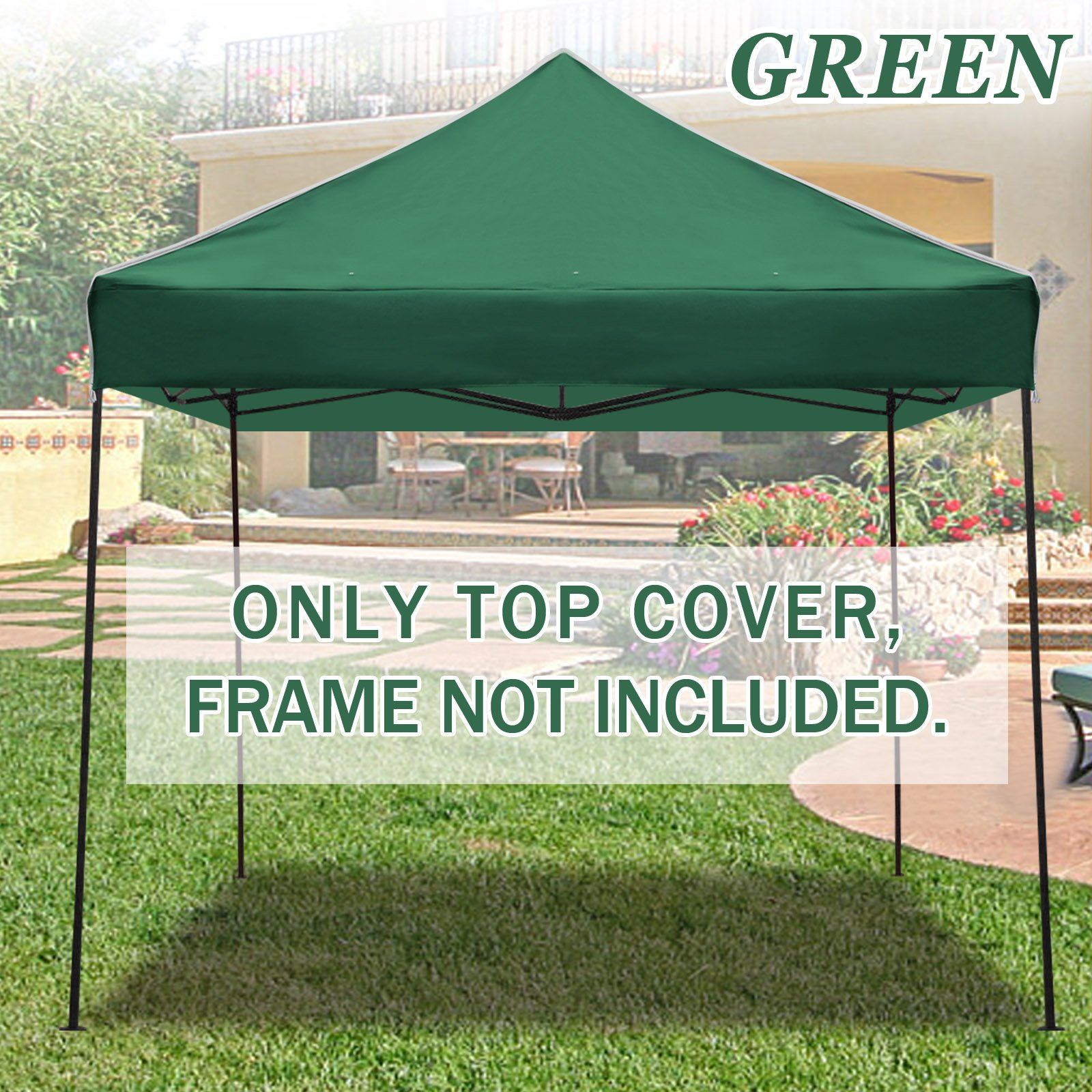 STRONG CAMEL Ez pop Up Canopy Replacement Top instant 10'X10' gazebo EZ canopy Cover patio pavilion sunshade Polyester (Green)