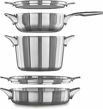Calphalon 5-Piece Premier Space Saving Stainless Steel Cookware Set