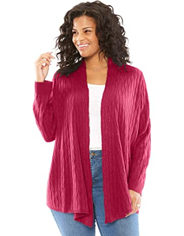 686abb4c2a3d3 Woman Within Women s Plus Size Open Front Cable Cardigan