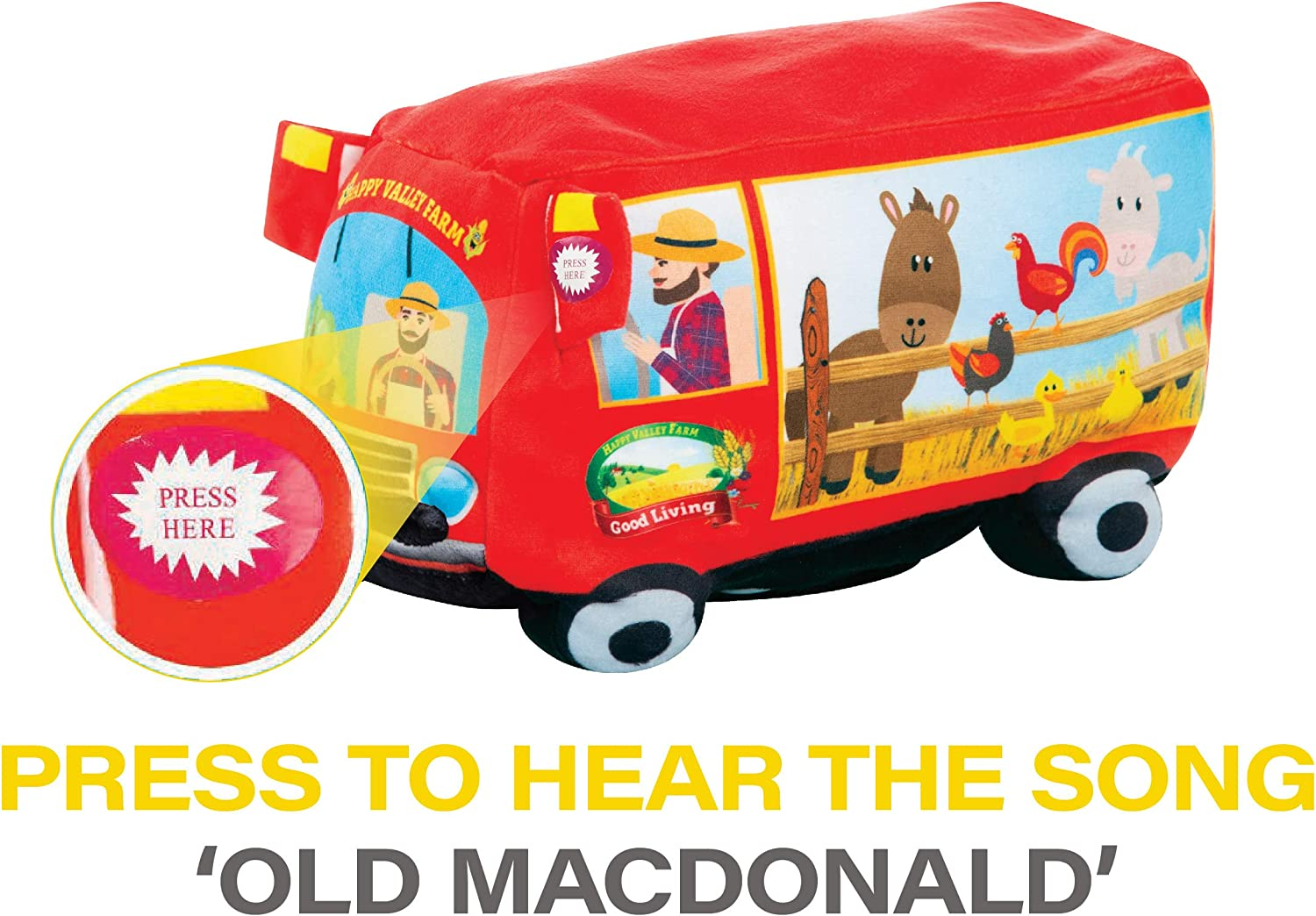 6 Months + This Sing Along Farm Truck Plays Old Macdonald Fun Toys for Toddlers Etna Plush Singing Old Macdonald Had A Farm Toy Dances and Lights Up to The Music
