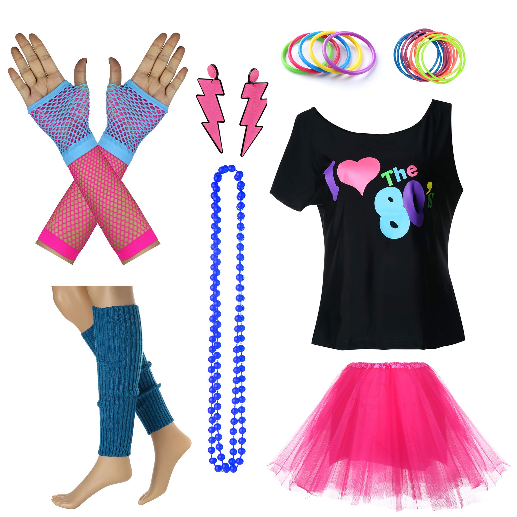 I Love The 80's Disco T Shirt Fancy Outfit Costume Accessories Set (03#, 4)