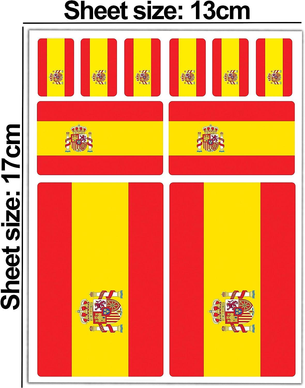 Biomar Labs® 10pcs Pegatina España Spain Flag Bandera Vinilo ...