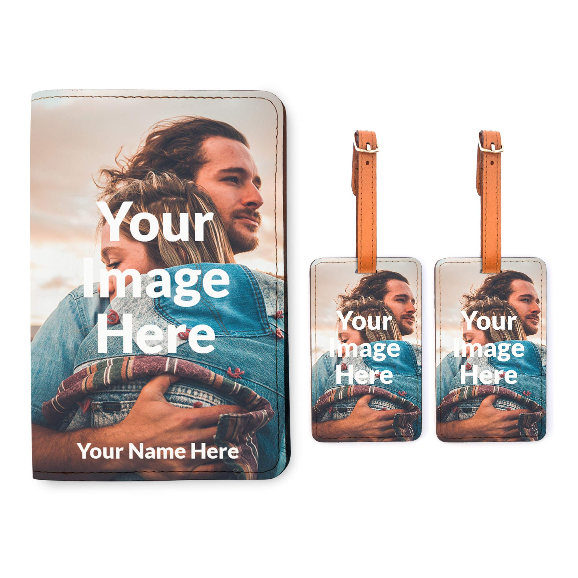 Personalized Passport Holder 2 Matching Luggage Tag Set - Your Image Here by With Love From Julie