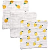 Anvi Baby Muslin Face & Burp Cloth- 100% Organic Cotton Set of 3 Quite a Pear