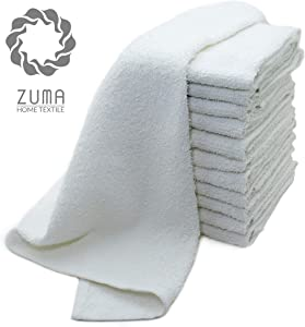 Zuma Clean - Bar Mop Towels Set of 12, 100% Terry Cotton (Best Absorbent), 16 x 19 Inches, Restaurant Cleaning Towels (White)