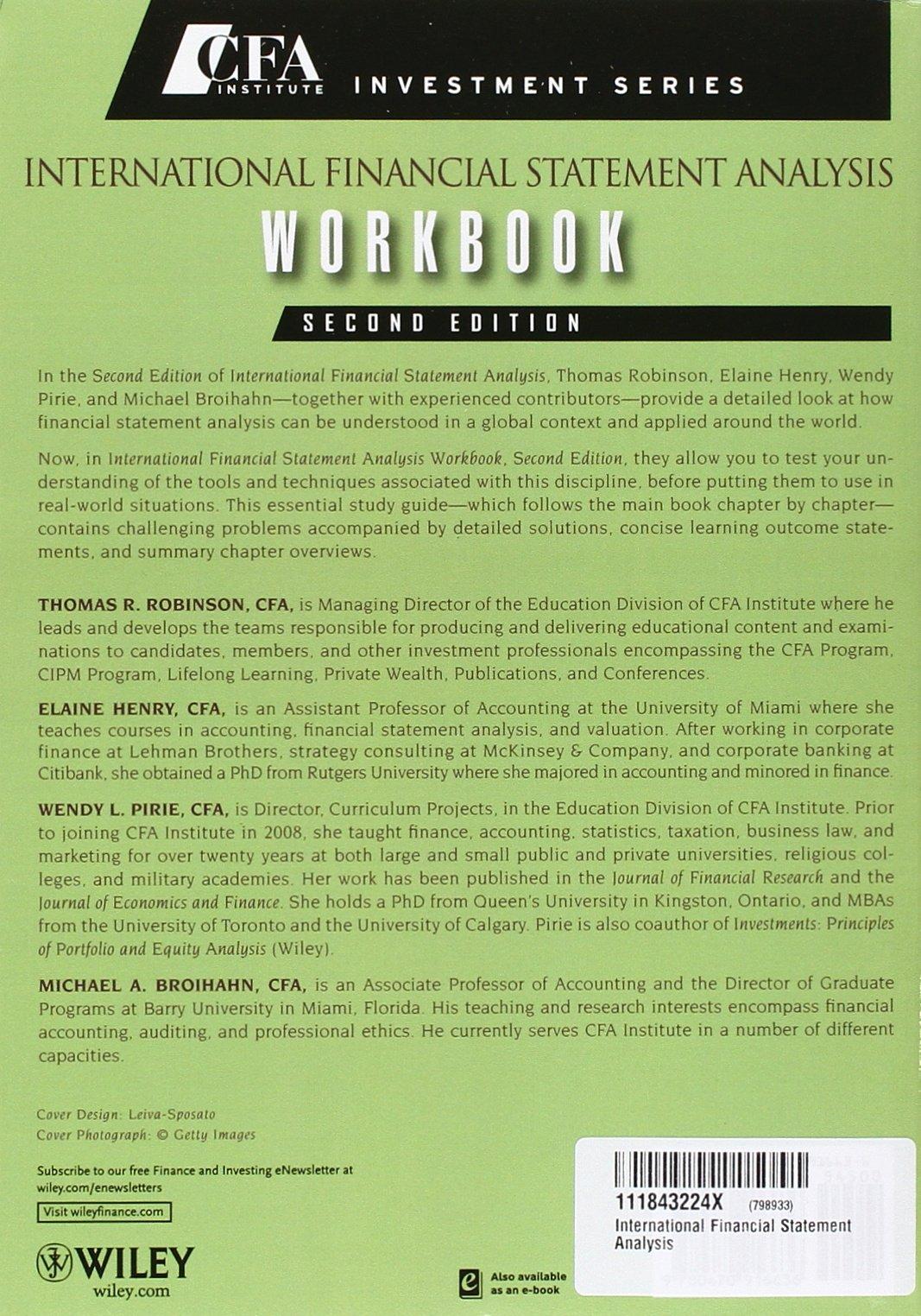 Workbooks cfa workbook : Buy International Financial Statement Analysis, Second Edition Set ...